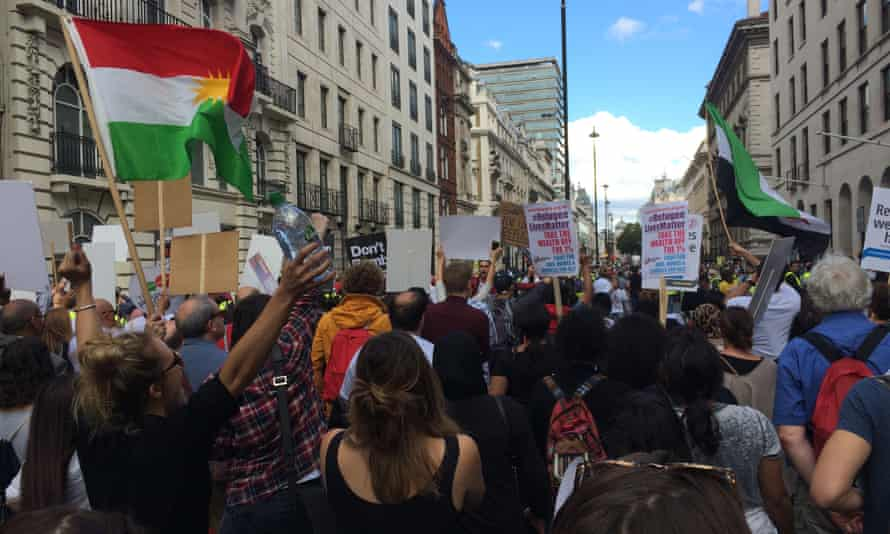 Thousands attend the Solidarity with Refugees march in London on Saturday