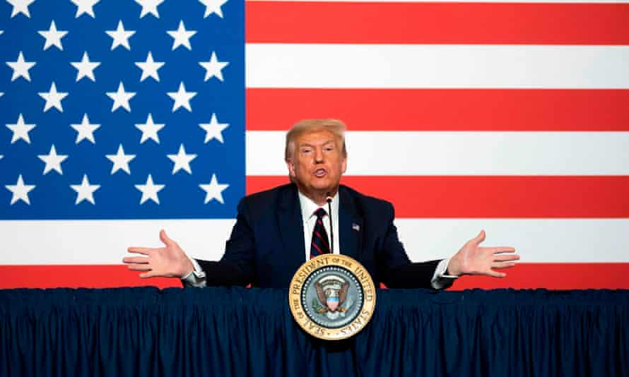 Donald Trump participates in a roundtable discussion on donating plasma at the American Red Cross headquarters in Washington, DC
