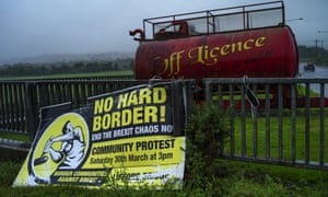 A sign calling for anti-Brexit protests near the border in Northern Ireland.