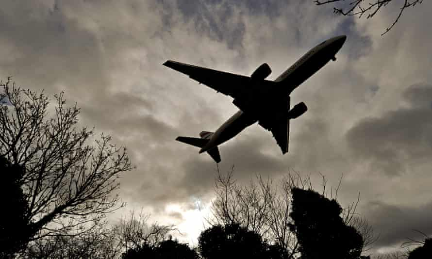 A plane prepares to land at Heathrow