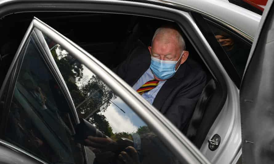 Ron Brierley arrives at Downing Centre district court in Sydney on Thursday.