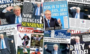 The UK papers' coverage of Boris Johnson's Tory party leadership victory on Wednesday 24 July.