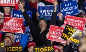 'Make America Great Again' signs at a Republican rally in Missouri last year.