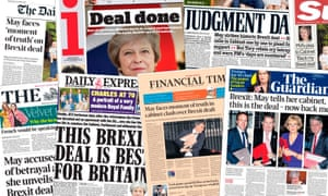 Front pages of the UK newspapers on the day of Theresa May's Brexit deal which is to be put to the cabinet.