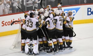 The Vegas Golden Knights celebrate defeating the Winnipeg Jets to make the Stanley Cup finals