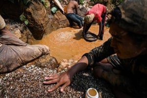 Miners panning for rubies and other gemstones in a ruby mine in Mogok, north of Mandalay.