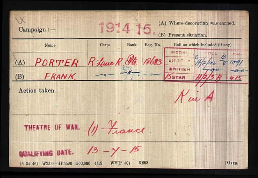 Frank Porter's medal roll.