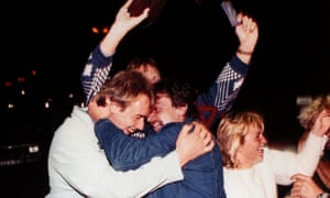 East Germans celebrating while crossing from Hungary into Austria.
