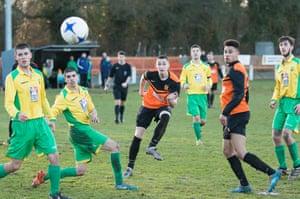 Dan Westwood in action for Wolverhampton Sporting against against Gornal Athletic.