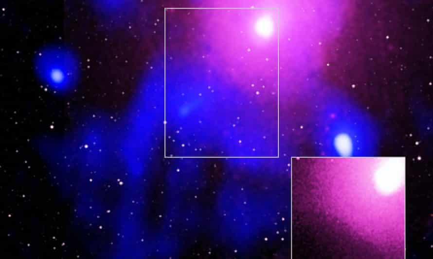Image showing what scientists have observed as the biggest explosion in the universe, occurring in the Ophiuchus galaxy cluster.