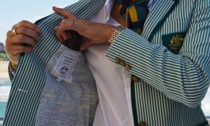 Beach volleyballer Lou Bawden shows off the inside panel and mobile phone pocket in the Australian Olympic team blazer.