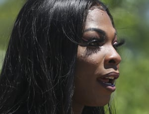 Muhlaysia Booker speaks during a rally in Dallas on 20 April 2019.