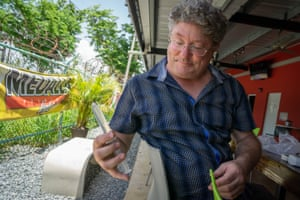 Ben Bostick tests water collected in the northern town of Arecibo.