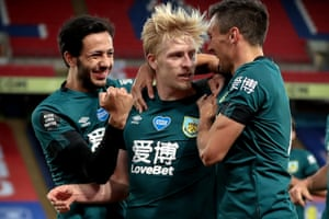 Burnley's Ben Mee celebrates with his teammates after scoring against Crystal Palace in June