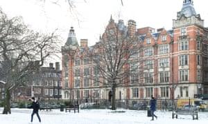 London School of Economics in the snow.