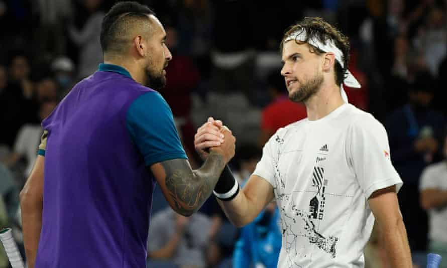 Australia's Nick Kyrgios congratulates Dominic Thiem with after their third-round tussle
