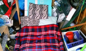 Tony Squirrell's bed made up in his allotment shed.