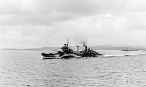 HMS Belfast leaving Scapa Flow for the Normandy beaches, June 1944. The ship is reported to have fired some of the first shots on D-day.