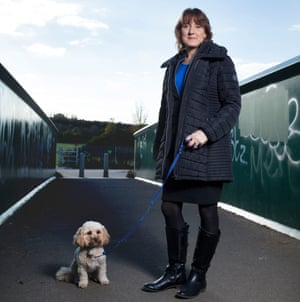 Gillian Assor and her dog Joey, photographed in Elstree, Hertfordshire