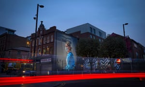 A mural depicting NHS nurse Melanie Senior in Manchester.