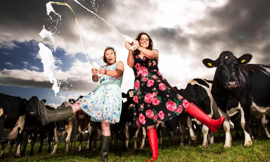 Sisters Sophie and Jess Vaughan from Jess's Ladies Organic in Gloucestershire with some of their herd of 80 cows.