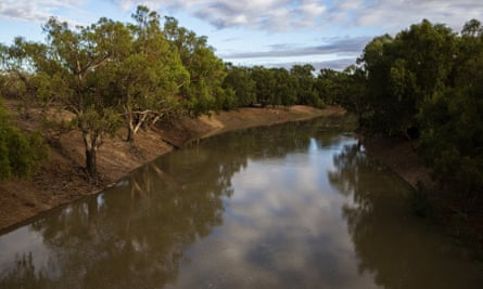 The Darling Barka river after the arrival of a flow of water from upstream in February 2020
