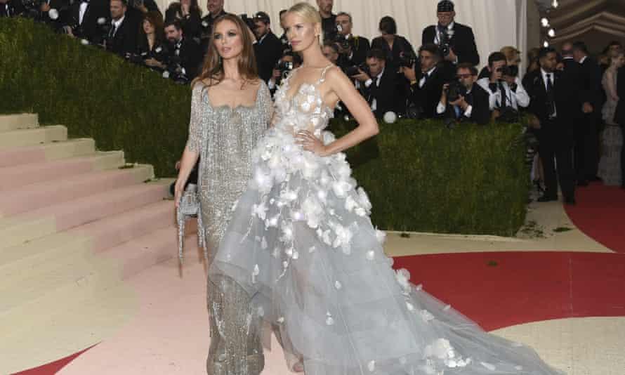 Georgina Chapman, left, and Karolína Kurková arrive at the Met Gala in New York