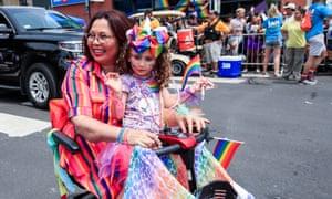 Senator Tammy Duckworth participates in the Chicago Pride parade.