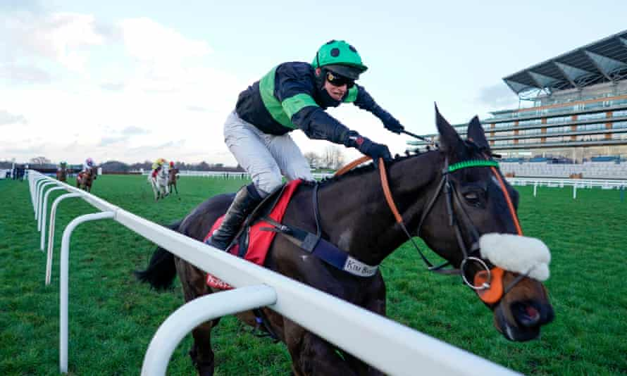 David Bass riding First Flow clear to win the Clarence House Chase at Ascot