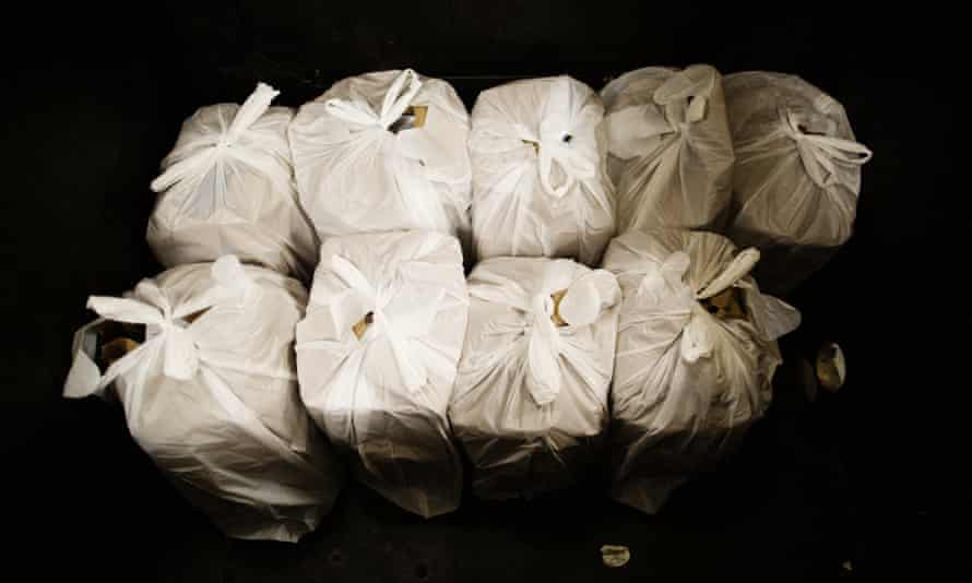 Bags of food ready for people who drop in a food bank in San Jose, California.