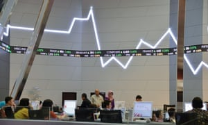 Indonesian stocks displayed in a graphy at the Jakarta stock exchange