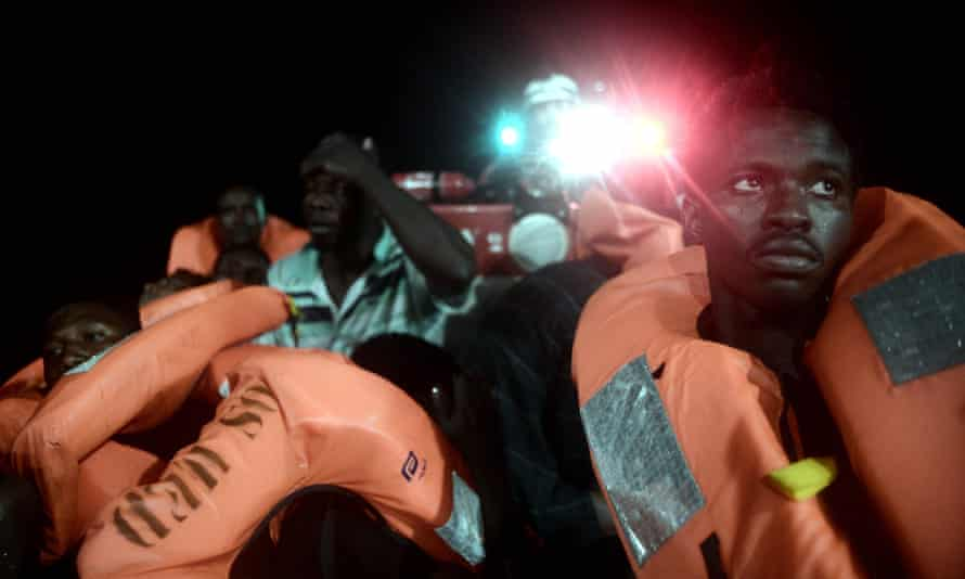 People are rescued before boarding the MS Aquarius