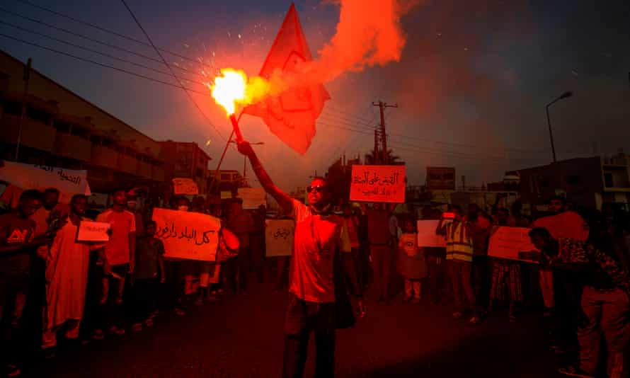 A protest in the Sudanese capital Khartoum in July in solidarity with the people of the Nertiti region of Central Darfur, following a spate of incidents of killings and looting.