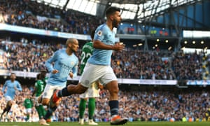Sergio Agüero celebrates scoring Manchester City's second goal against Brighton