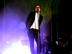 Father John Misty aptly performs near some mist on the Coachella Stage