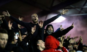 Southampton fans celebrate their second goal in their 4-0 Carabao Cup win over Portsmouth.