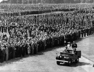 Queen Elizabeth II riding in a Land Rover with the Duke of Edinburgh, in 1953 reviewing 72,000 ex-Service men and women, including the wounded and the veterans of three wars, in Hyde Park, London