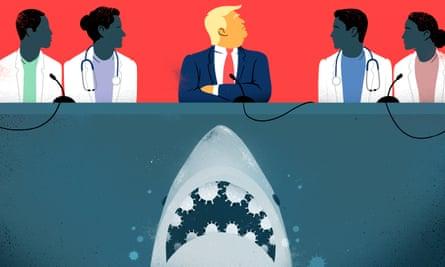 Sébastien Thibault illustration of Donald Trump and medical experts