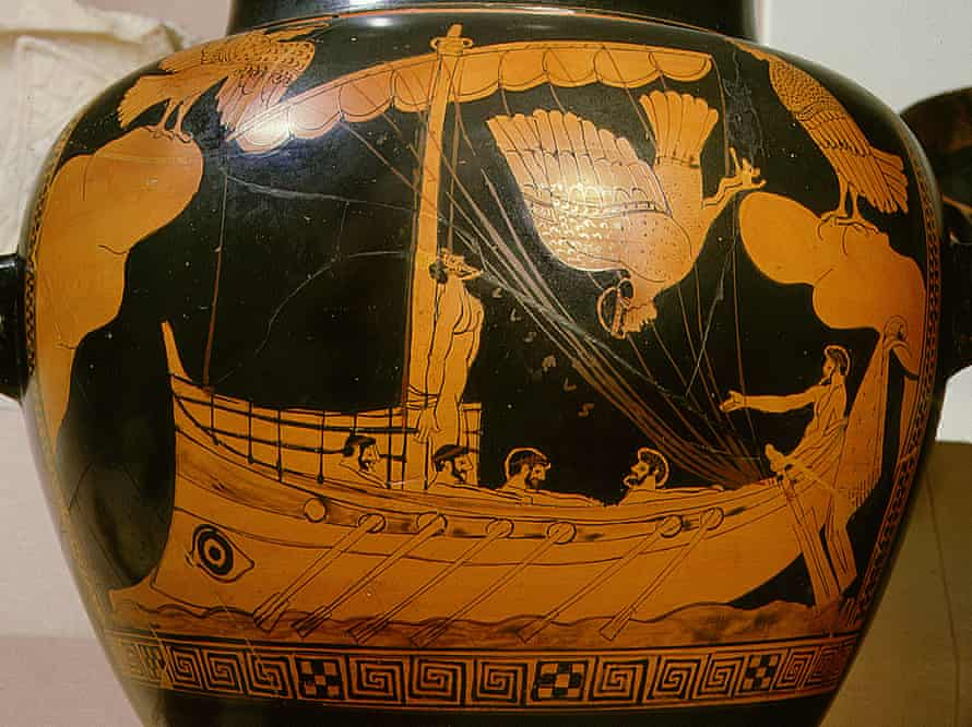 The 'Siren Vase' in the British Museum: the shipwreck is believed to be a vessel similar to that shown bearing Odysseus.