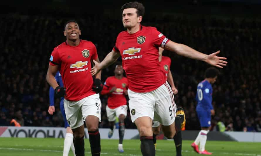 Harry Maguire celebrates scoring Manchester United's second.