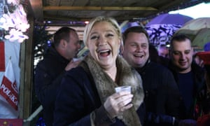 Front National leader Marine Le Pen at a Christmas market in northern France