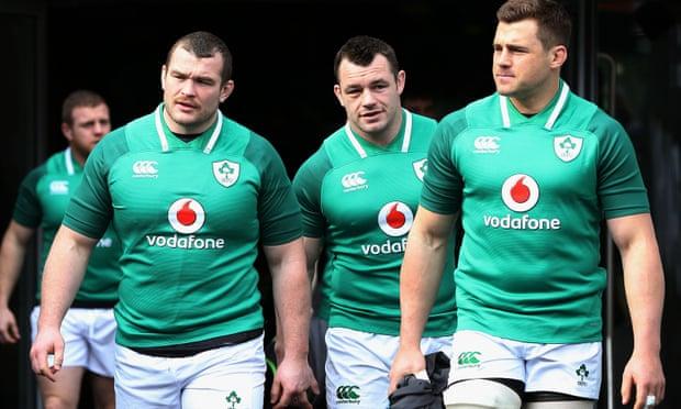 Ireland's Jack McGrath (left), Cían Healy and CJ Stander arrive at the Aviva Stadium for the captain's run.