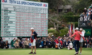 Gary Woodland celebrates winning the US Open at Pebble Beach.