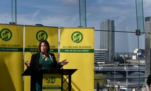 Sinn Fein president, Mary Lou McDonald, speaking at the launch of the Sinn Fein local elections campaign at the Waterfront Hall in Belfast today.