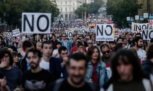 Protesters outside the Spanish parliament.