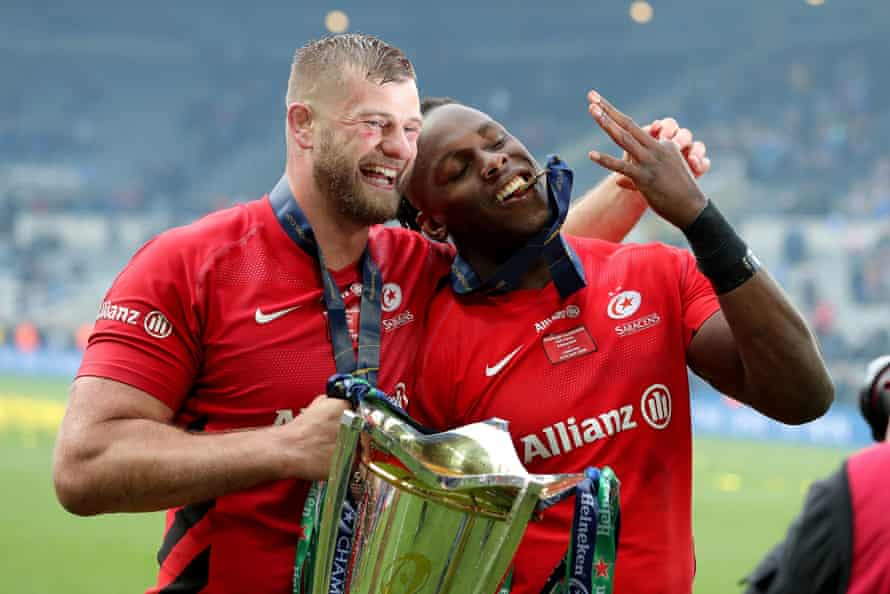 Kruis celebrates the 2019 Champions Cup win with his former Saracens teammate Maro Itoje.