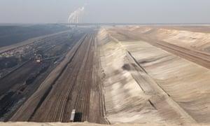 Open-pit coal mining Janschwalde near Cottbus in Germany.