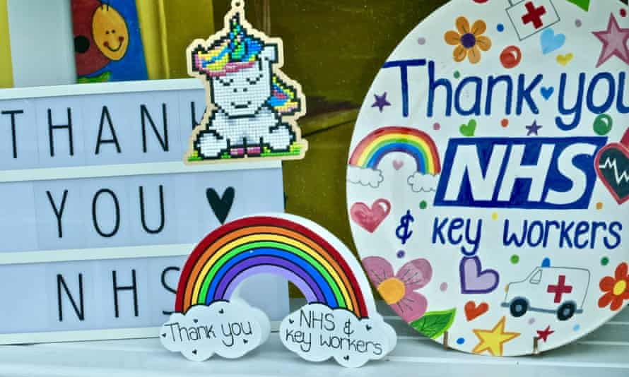 'Thank you NHS' display in window