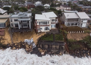 Terrigal beach, Australia Coastal erosion damages properties in New South Wales. A severe weather warning was issued for the coast from the southern border to Newcastle