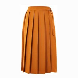 Orange pleated skirt, £39.50, marksandpsencer.com.